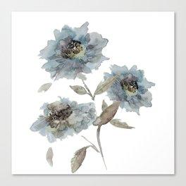 watercolor Dahlia blue Canvas Print