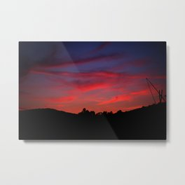 Red sunset - Poland - Landscape and Rural Art Photography Metal Print