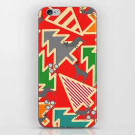 Retro deer and Christmas trees iPhone Skin