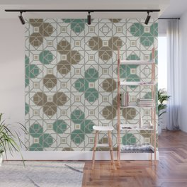 Geometric Octagon and Square Shapes Line Art Jade Green Tobacco Brown Beige Gray Wall Mural
