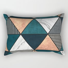 Copper, Marble and Concrete Triangles 2 with Blue Rectangular Pillow