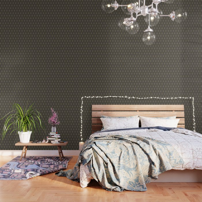 Art Deco Vector in Charcoal and Gold Wallpaper