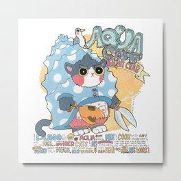Aqua cat_Puno Metal Print