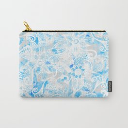 Floral Drawing in Cool Blue Watercolor and White Carry-All Pouch