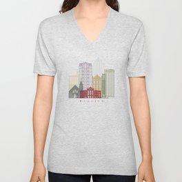 Raleigh skyline in watercolor Unisex V-Neck