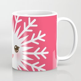 Merry Christmas card design Kawaii white snowflake funny face with eyes and red cheeks on pink Coffee Mug