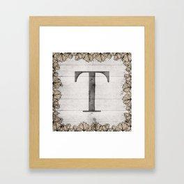 Neutral Monogram T Framed Art Print