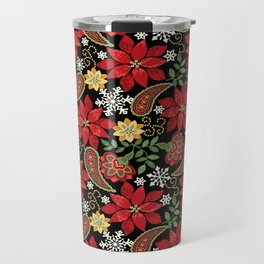 Christmas Poinsettia Paisley Travel Mug