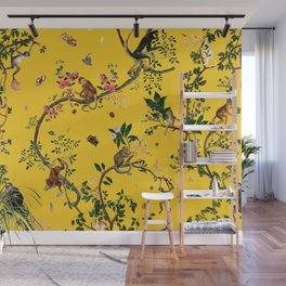 Monkey World Yellow Wall Mural