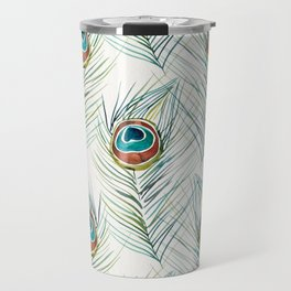 Peacock Tail Feather – Watercolor Travel Mug