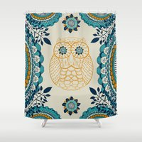 boho Shower Curtains featuring BOHO Owl by rskinner1122
