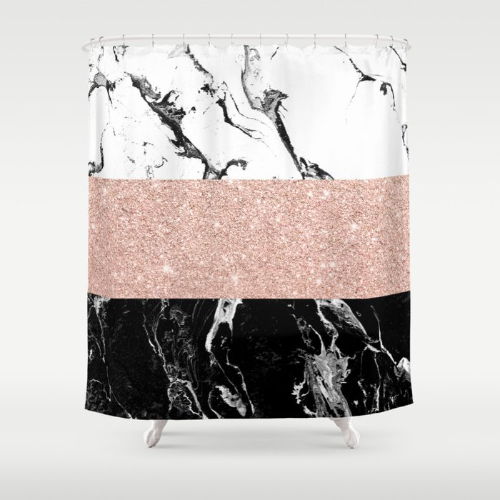 Modern Black White Marble Rose Gold Color Block Stripes Pattern Shower Curtain