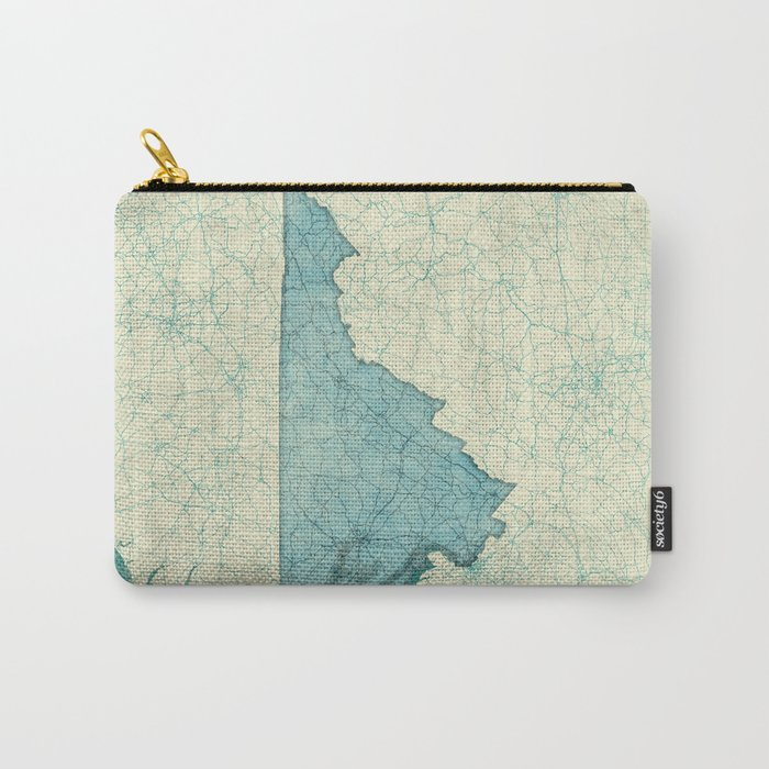 Virginia State Map Blue Vintage Carry-All Pouch