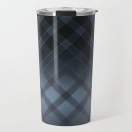 Dark gray pattern in the forward cage on satin grey background . Travel Mug