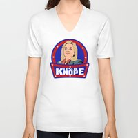 leslie knope V-neck T-shirts featuring Leslie Knope by SuperEdu
