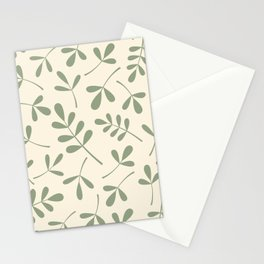 Green on Cream Assorted Leaf Silhouettes Stationery Cards