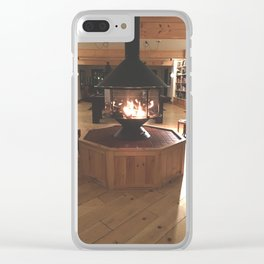 Cozy Fireplace at the Lodge Clear iPhone Case