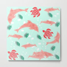 Dolphin green Metal Print