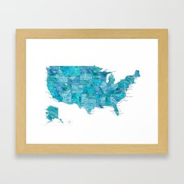 "Teal watercolor map of the USA with cities, ""Norvin"" Framed Art Print"