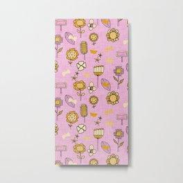 midsummer retro floral pink Metal Print