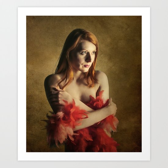She wears red feathers Art Print
