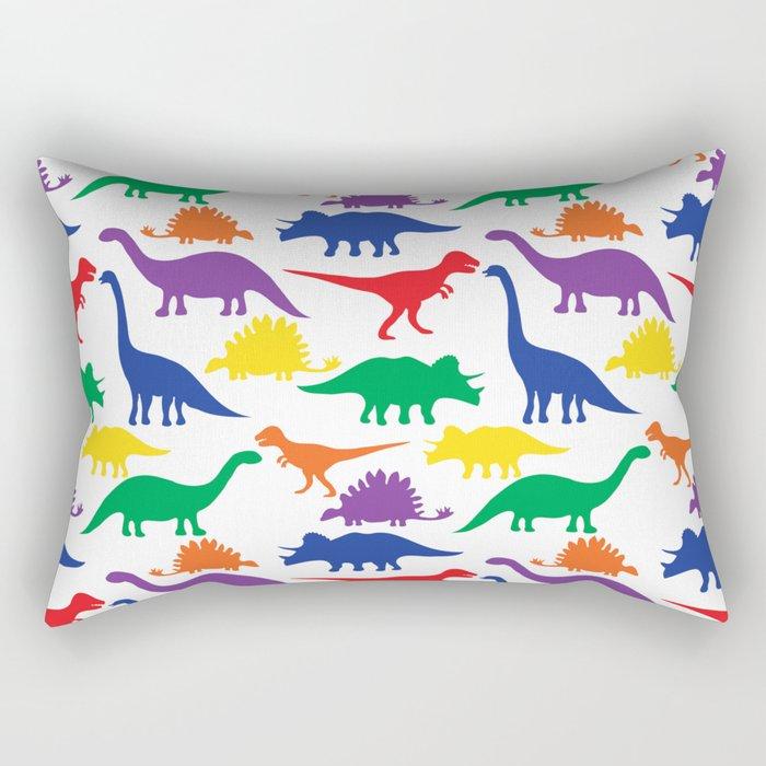 Dinosaurs - White Rectangular Pillow