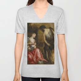 "Veronese (Paolo Caliari) ""The family of Cain wandering (Cain as a fugitive with his family)"" Unisex V-Neck"
