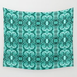 Teal & White Curly Spirals Wall Tapestry