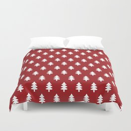 Hand drawn christmas red trees Duvet Cover