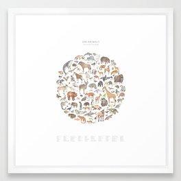 100 animals Framed Art Print