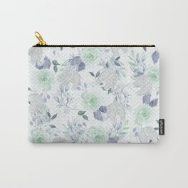 Watercolor mint green gray elephant geometric floral Carry-All Pouch