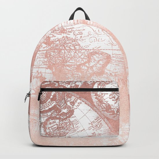 Rose Gold Pink Antique World Map by Nature Magick Backpack
