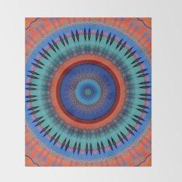 Orange Bright Blue Mandala Design Throw Blanket