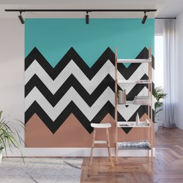 AQUA & DARK CORAL CHEVRON COLORBLOCK Wall Mural