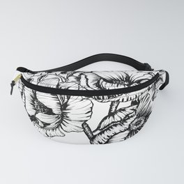Flower bouquet in black and white, floral line drawing, pen and ink, anemone flowers, line art, flor Fanny Pack