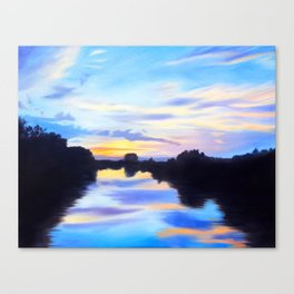 Fine Art Print of an Oil Painting of the Sunset over the Water on the Connecticut River in Canvas Print