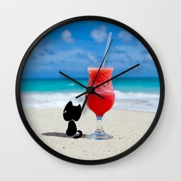 Outdoor Lifestyle - Beach Cat Relax Wall Clock