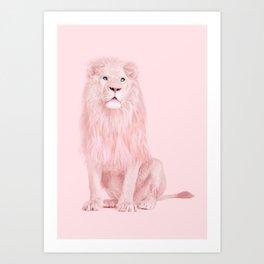 ALBINO LION Art Print