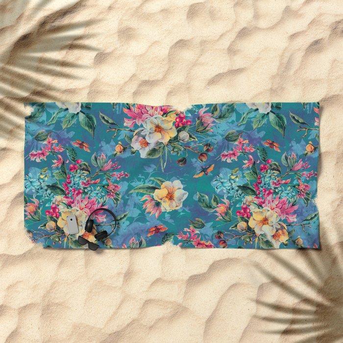 Floral Ocean III Beach Towel