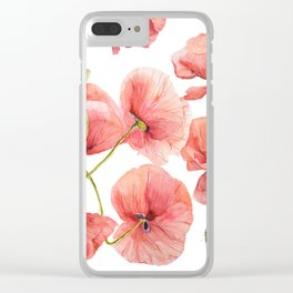 Red Poppies Bright Sunlight, Big Beautiful Red Flowers Clear iPhone Case