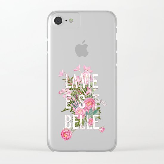 LAVIE EST BELLE - Watercolor - Pink flowers roses - rose flower on #Society6 Clear iPhone Case