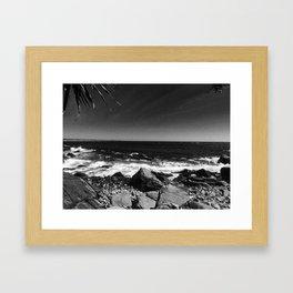 ocean view in black and white Framed Art Print