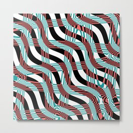 Abstract Wavy Stripes Metal Print