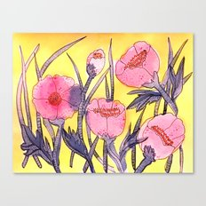 Fever Flowers - pink navy white yellow Canvas Print