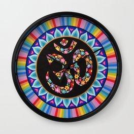Flowery Om Mandala Wall Clock