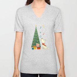 Festive Dog and a Christmas Tree Unisex V-Neck