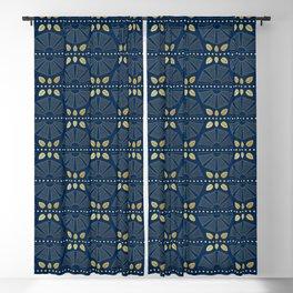 Navy Blue Art Deco Fans Blackout Curtain