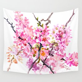 Cherry Blossom pink floral texture spring colors Wall Tapestry