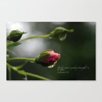 scripture Canvas Prints featuring Pink Rosebud with scripture. by The Time Catcher