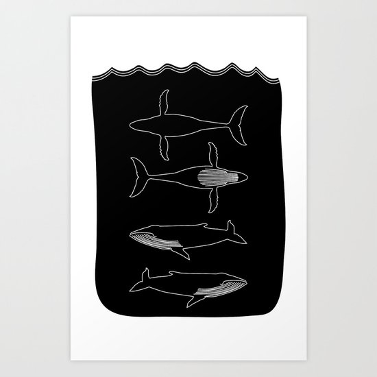 Humpback Whale on black Art Print